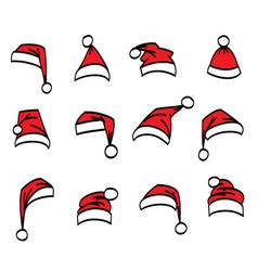 set red santa hats different shapes vector image