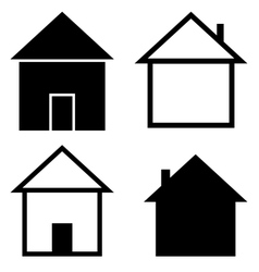 set silhouettes houses vector image