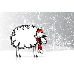 Sheep santa in forest symbol of new year 2015 vector