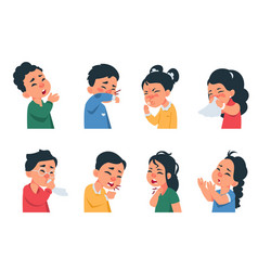 Sneezing kids cartoon boys and girls characters vector
