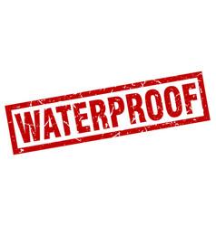 Square grunge red waterproof stamp vector