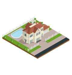 Suburb house building composition vector