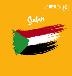 Sudan flag brush strokes painted vector