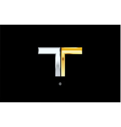 T silver gold letter alphabet logo icon design vector