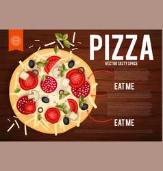 tasty pizza with tomatos wurst olive mushrumes vector image