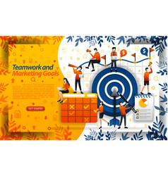 teamwork to achieve marketing goals increase vector image
