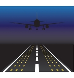The plane is taking off at sunset vector image