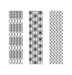 three simple monochrome seamless patterns with vector image