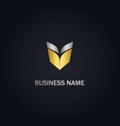V initial open book gold logo vector