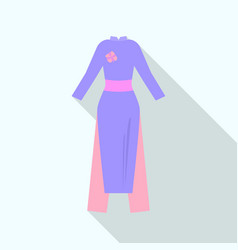 Vietnam traditional dress icon flat style vector