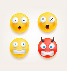 Web icons emoticons in cute 3d style set isolated vector