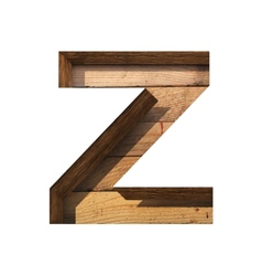 Wooden cutted figure z paste to any background vector