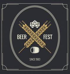 beer vintage label design background vector image vector image