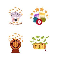 flat casino symbols icon set vector image