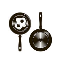 frying pan with long handle described in vector image