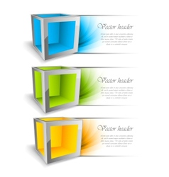 Set of banners with cubes vector image vector image