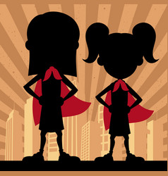 super kids 2 girls vector image
