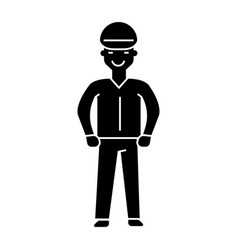 worker icon black sign on vector image