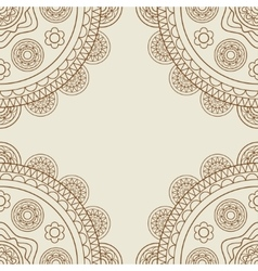 Boho floral mandalas frame vector image vector image