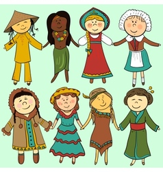 Cartoon kids in different traditional costumes vector image vector image