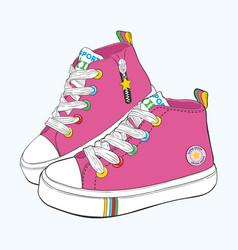 childrens sneakers set vector image