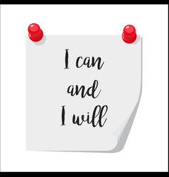 i can and i will note vector image vector image