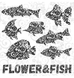 set of fish silhouettes with flower pattern vector image vector image