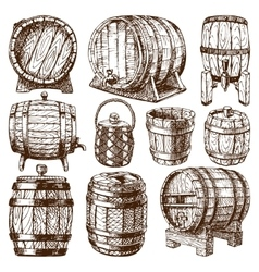 Wooden barrel isolated vector image