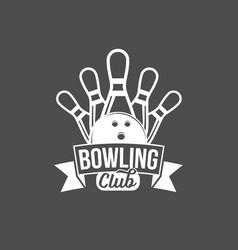 bowling emblem label badge and designe elements vector image vector image