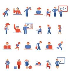 Children in school flat icons vector image vector image