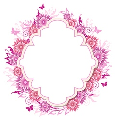 Decorative background with pink flowers vector image