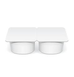 Realistic white plastic container for yogurt vector