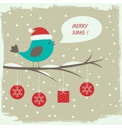 Retro winter card with cute bird vector image vector image