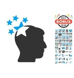 Stars Hit Head Icon With 2017 Year Bonus vector image
