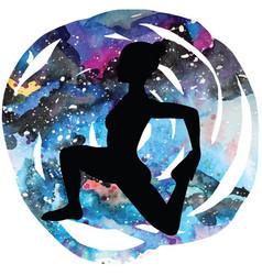 women silhouetteone-legged king pigeon yoga pose vector image vector image