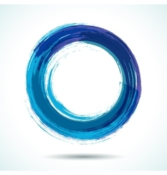 Blue brush painted watercolor circle vector image