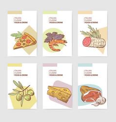 italian food menu design template poster banner vector image