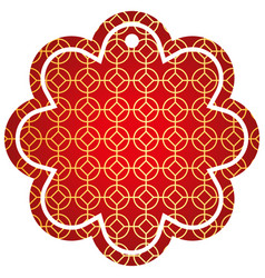 label flower chinese pattern rounded and rhombus vector image