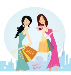 shopping woman's vector image vector image