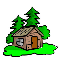 wooden cabin in the woods sketch vector image