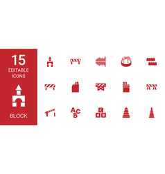 15 block icons vector image