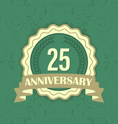 25th anniversary label on a green ornament vector