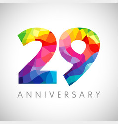 29 anniversary colorful facet logo vector image