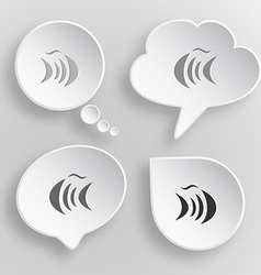 Abstract fish White flat buttons on gray vector image