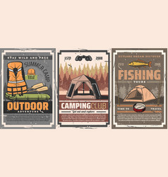active leisure camping and rafting sport vector image