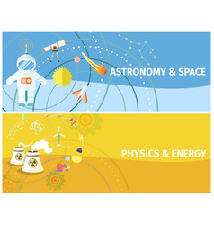 Astronomy and space physics and energy poster vector