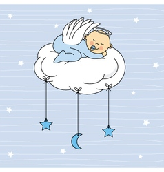 Baby boy sleeping on a cloud vector