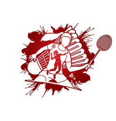 badminton players cartoon sport graphic vector image
