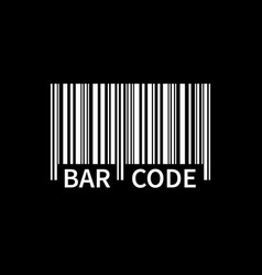 bar code isolated on black background white vector image