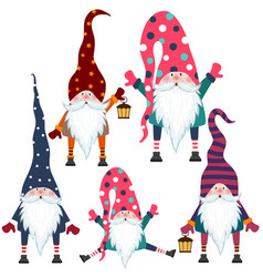 Beautiful flat design gnomes collection isolated vector